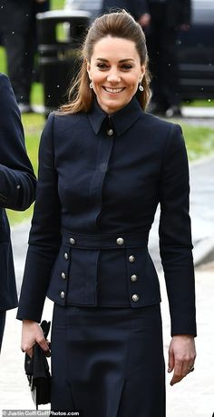 Kate Middleton joins Prince William, Prince Charles and Camilla Kate Middleton wore her hair swept back into a half-up hairdo for the outing with her husband, Charles and Camilla today Duchess Kate, Duchess Of Cambridge, Angelina Jolie, Princesse Kate Middleton, Estilo Real, Catherine The Great, Prince William And Catherine, William Kate, Military Style Jackets