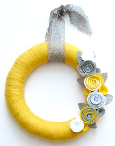 "14"" Yellow yarn wreath with gray and white felt flowers - The Stephanie. $42.00, via Etsy."