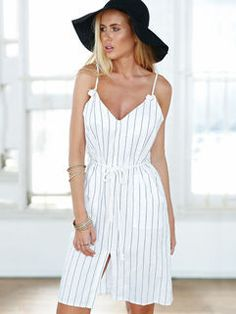 OL Style Sleeveless Slim-fitted Striped Slit Dress