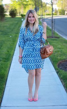 Anthropologie Blue Ikat Tunic Dress