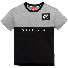 Nike Air Older Boy Panel Tee ($35) ❤ liked on Polyvore featuring tops, t-shirts, nike, color block tee, panel t shirt, nike t shirt and colorblock t shirt