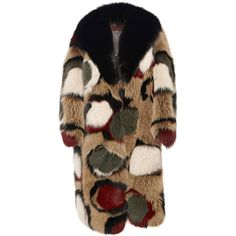 Marni Olive Intarsia Fox Fur Coat (€38.130) ❤ liked on Polyvore featuring outerwear, coats, fur, jackets, olive, fox fur coat, marni, marni coat, long sleeve coat and army green coat