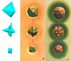 The origin of the Tetrakis #Hexahedron and the Pentakis #Dodecahedron by #Ugo #Adriano #Graziotti. Plates III & IX