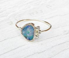 Fire Opal Diamond Engagement Ring Unique Engagement Ring