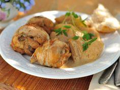 poulet, cidre, échalote, crême fraîche, beurre, ciboulette, Poivre, Sel