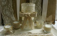Burlap Wedding centerpiece for candles or flowers by Bannerbanquet