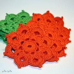 Set of 4 beautiful orange Crochet Coasters placemat от yolkaigolka, $16.00