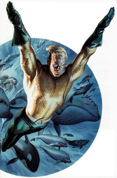 Aquaman Art by Alex Ross Dc Comics Characters, Dc Comics Art, Fun Comics, Marvel Dc Comics, Aquaman Comics, Anime Comics, Comic Book Artists, Comic Book Heroes, Comic Artist