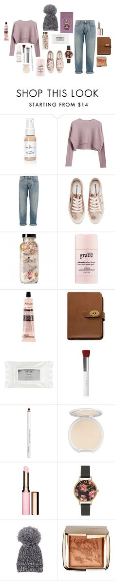 """""""#107"""" by ohbuttons on Polyvore featuring Ere Perez, Chicnova Fashion, MSGM, Superga, philosophy, Aesop, Mulberry, Stila, Clarins and Olivia Burton"""