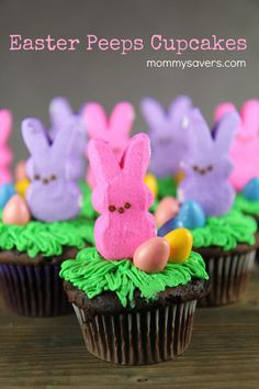 These cute Easter Bunny Peeps Cupcakes are easy to make and look fabulous on your table for Easter dinner. Plus, kids love to help make them! Supplies Needed: Box cake mix and required ingredients… Panda Cupcakes, Easter Bunny Cupcakes, Cute Easter Bunny, Easter Peeps, Hoppy Easter, Easter Treats, Easter Food, Big Bunny, Easter Cupcake Decorations