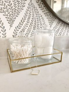 Creating Simplicity in the Master Bathroom - Our Vintage Nest Bathroom Wallpaper Patterns, Soap Pump, Bathroom Collections, Chic Bathrooms, Apothecary Jars, Master Bathroom, Nest, Vintage, Nest Box