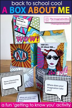 This 'All About Me Pop Art Box' is a fun Back to School art activity for the classroom. 4th, 5th, 6th, 7th grade teachers, use this resource as a first week back getting to know you lesson, encouraging team building and learning. The finished boxes, task cards, posters, garlands and coloring pages make great displays for bulletin boards and open house. Click the 'visit' button to view this creative, easy to use pdf resource in full