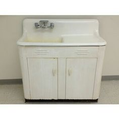 1950 39 s vintage kitchen sink unit with stainless steel top for Antique white metal kitchen cabinets