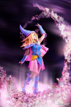 Dark Magician Girl photo!Another picture from the photoshoot with my Dark  Magician Girl cosplay. The cardswirl is real! We glued hundreds of  Yu-Gi-Oh! cards on a frame :)Picture made and edited by Jeroen Wolf.Costume made and worn by me. For work in progress pics of this costume, please visit my facebook page :D