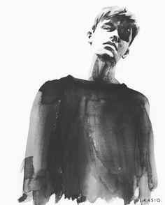 B&W Portrait Series on Behance Pencil Portrait Drawing, Watercolor Portraits, Watercolor Paintings, Watercolour, Illustration Art Drawing, Fashion Illustration Sketches, Human Figure Drawing, Sketches Of People, Arte Sketchbook