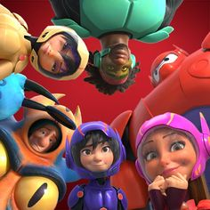 Hiro Hamada, Honey Lemon, Baymax, Wasabi, GoGo Tomago and Fred as Superheroes