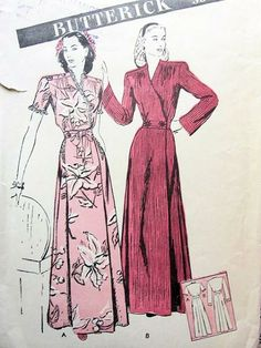 Butterick ca. Women's and Misses' Housecoat Ad Fashion, 1940s Fashion, Art Deco Fashion, Fashion History, Vintage Fashion, Vintage Sewing Patterns, Sewing Ideas, Historical Clothing, Lounge Wear