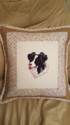 Boarder Collie Cushion.  Machine Embroidered