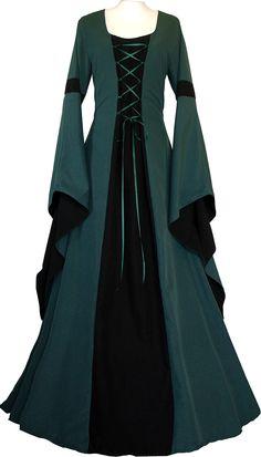 Dornbluth Ladies Medieval Dress Johanna Dark Green: Amazon.co.uk: Clothing