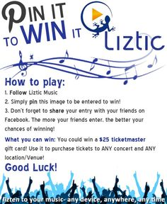 www.liztic.com Pin It To Win It! #giveaway ticketmaster.com gift card! #pinittowinit #contest #free #entertowin #musicgiveaway #musiccontest