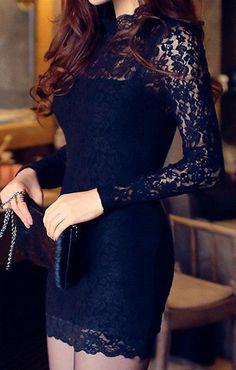 Cutout Black Bodycon Dress - Long Sleeves Lace Dress