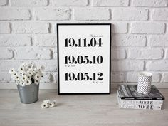 Personalised date print, first anniversary print, paper gifts, wedding ideas https://www.etsy.com/listing/480723504/personalised-date-prints-big-dates