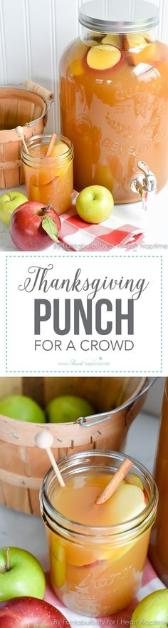 Thanksgiving Punch for a Crowd .this easy, fall beverage favorite will be a delicious option this Thanksgiving when entertaining your family and friends! Enjoy All The Best Flavors Of Fall With This Amazing Thanksgiving Punch! Holiday Drinks, Holiday Treats, Christmas Mocktails, Winter Drinks, Fall Recipes, Holiday Recipes, Fall Punch Recipes, Holiday Foods, Fall Party Foods