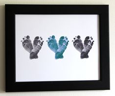 Gift for New Dad from Baby - Baby Feet Heart Print - Personalized Gift for Grandpa, Grandfather - Father's Day - Nursery Art in Gray, Blue. $34.00, via Etsy.