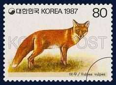 POSTAGE STAMPS OF ANNIMALS, Fox, Animals, Orange, Ivory, 1987 02 25, 동물우표, 1987년02월25일, 1478, 여우, postage 우표