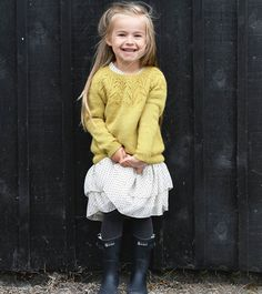 Ravelry: Aurora pattern by Sandnes Design Adorable little girls sweater! Kids Knitting Patterns, Knitting For Kids, Baby Patterns, Girls Sweaters, Baby Sweaters, Baby Girl Fashion, Fashion Kids, Baby Kind, Ravelry
