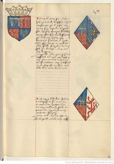 Coat of arms of John, Duke of Bedford and of Anne of Burgundy. Upper. Receuil de la généalogie de la noble maison de Luxembourg.