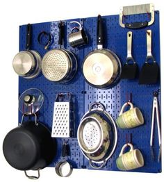 Wall Control Kitchen Pegboard Organizer Pots and Pans Pegboard Pack Storage and Organization Kit with Blue Pegboard and Red Accessories by Wall Control, http://www.amazon.com/dp/B00CTV3E9W/ref=cm_sw_r_pi_dp_zDNLrb16Z1EY9