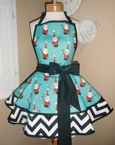Cute Santa Print Womans Retro Apron Accented With by mamamadison