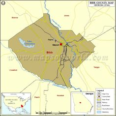 Map of Muscogee County in Georgia, USA | County Map | County map ...