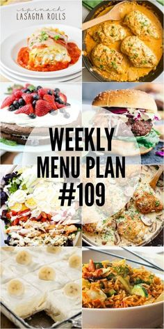 Weekly Menu Plan - A delicious collection of dinner, side dish and dessert recipes to help you plan your weekly menu and make life easier! Weekly Menu Planning, Meal Planner, Meals For The Week, Cooker Recipes, Family Meals, Meal Prep, Food Prep, Salad Recipes, Food To Make