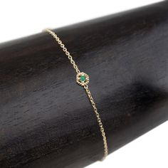 5mm Milgrain hexagon charm with emerald set in 14k gold. Handmade in New York