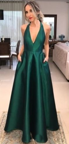 V Neck Emerald Green Prom Dress party