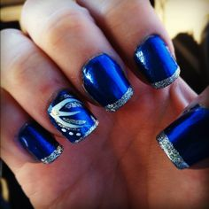 Big Blue Nation, Kentucky Wildcats inspired nails I did Friday :)