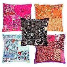 5 Pcs Set Jaipuri Handmade Lace Patchwork Kantha Indian Cushion Covers