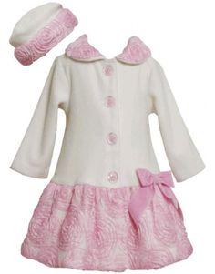 Ivory Pink Bonaz Border and Bow Fleece Coat / Hat Set IV3SX,Bonnie Jean Little Girls Special Occasion Outerwear Coat Bonnie Jean,http://www.amazon.com/dp/B00EE1GO06/ref=cm_sw_r_pi_dp_T7hbsb03XSPJYG6H