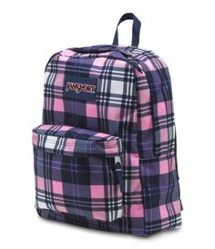 JanSport Superbreak Backpack  T501 Pink Pansy Preston Plaid >>> Continue to the product at the image link.
