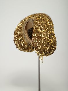 """""""Gold cap,"""" silk, metallic threads and gilded paillettes reinforced with wire and lined with linen, c. 1650-1700, Nueremberg, Germany. #Mittelfranken"""