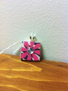 Scrabble Tile Pendant  Zebra w/ Big Pink Flower by DirtRoadCrafter, $8.00