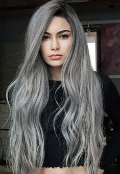 40 Stunning Silver Hair Color Ideas for Long Hair in Looking for best hair color trends to wear in See here the amazing ideas of silver hair colors and hairstyles for long hair to use nowadays. Transform you looks by visiting these awesome col Silver Grey Hair, Hair Color For Black Hair, Cool Hair Color, Long Grey Hair, Black Silver, Silver Nails, Grey Hair Dye For Black Hair, Grey Hair Under 40, Grey Hair With Black Roots