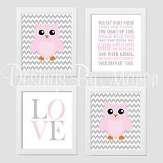 Baby Girl Nursery Playroom Wall Decor Prayer Pink Gray Chevron - Set of 4 prints