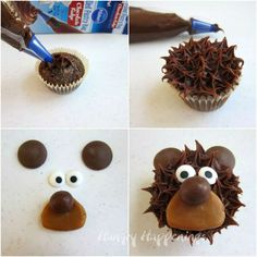 Easy Cupcake Decorating – Learn how to make adorably cute bear cupcakes. How to make bear cupcakes using a Pillsbury Filled Pastry Bag. Teddy Bear Cupcakes, Animal Cupcakes, Fancy Cupcakes, Yummy Cupcakes, Birthday Cupcakes, Dog Cakes, Bear Cakes, Baby Shower Desserts, Baby Shower Cakes