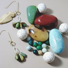 African Green Turquoise Earrings