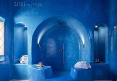 stunning, blue, luxurious, hamam type bathroom, skyfall suites, pyrgos, santorini, arch, vault, island