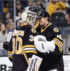 Boston Bruins goalies tuukka Rask and Chad Johnson