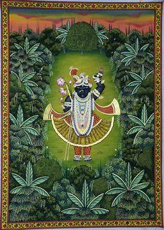 Shrinathji Swaroop Van Vihar - I Music Painting, Cow Painting, Krishna Painting, Krishna Art, Silk Painting, Madhubani Painting, Shree Krishna, Radhe Krishna, Hanuman